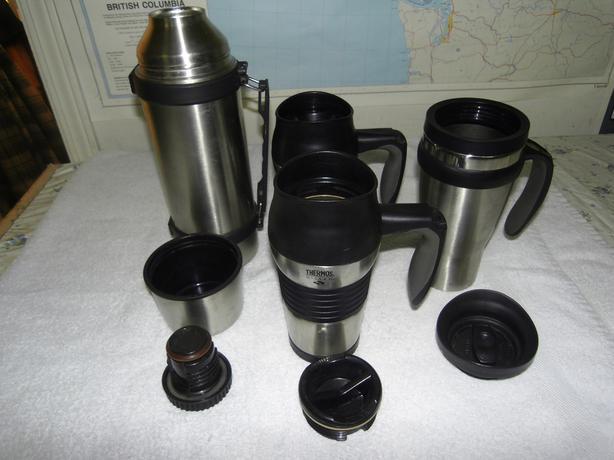 1 stainless thermos & 3 travel mugs