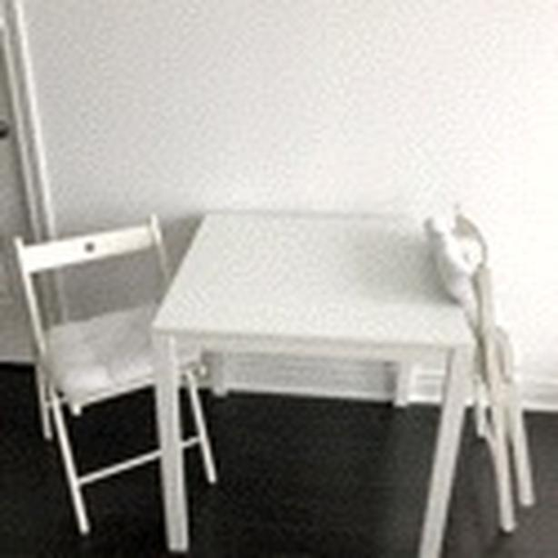Ikea table + 2 foldable chairs with cushions
