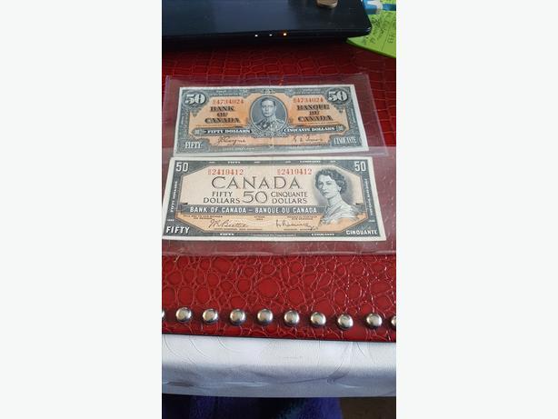 BANK OF CANADA -$50  -1937,1954and ,$20 DOLLARS BANK NOTES