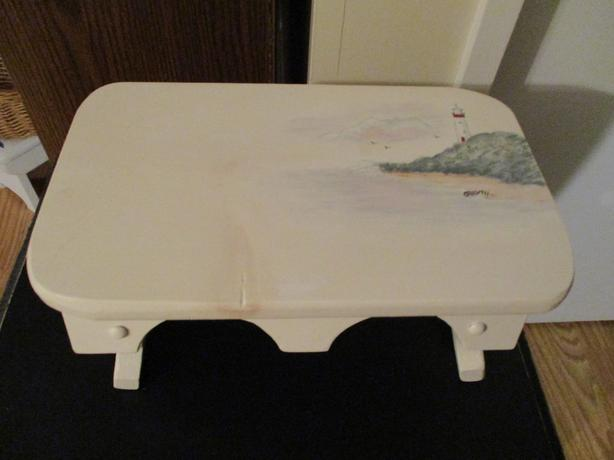 WOODEN FOOT STOOL (painted lighthouse)