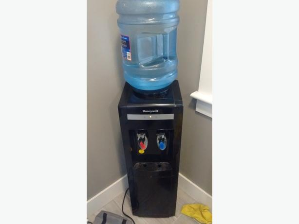 Top Load Freestanding Water Cooler Dispenser, Hot And Cold Temp, Storage Cabinet