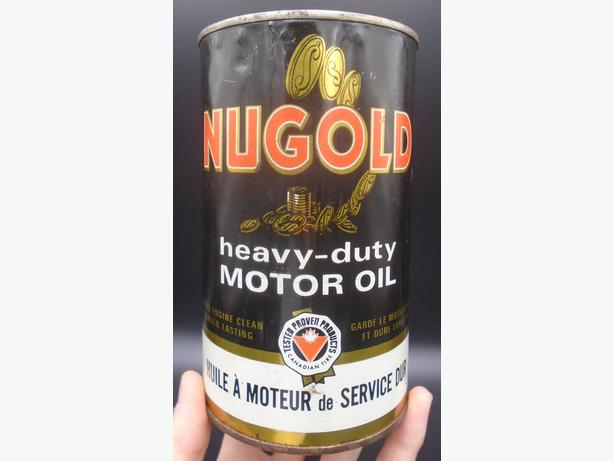 VINTAGE 1950's CANADIAN TIRE NUGOLD MOTOR OIL IMPERIAL QUART CAN