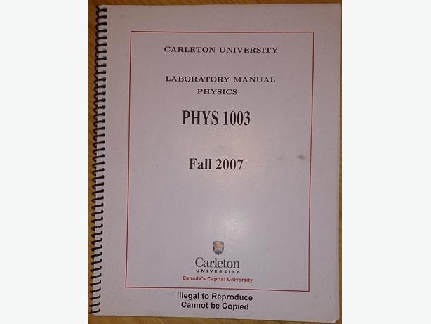 Mechanics/Thermodynamics (PHYS 1003) Lab Manual