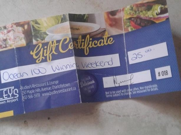 """$25.00 Gift certificate for Budley""""s"""