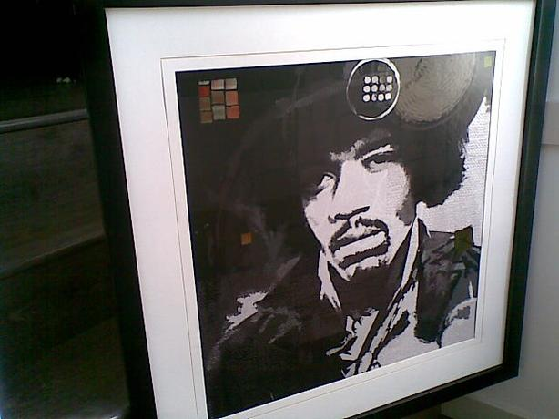 Jimi Hendrix print in a good frame with a mat