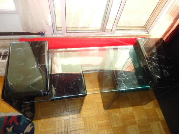 Unique 3 Piece Faux Black Marble & Glass Top Coffee End Table