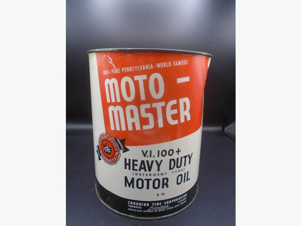 RARE 1950's VINTAGE CANADIAN TIRE MOTOMASTER MOTOR OIL CAN