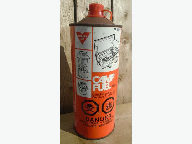 RARE 1970's VINTAGE CANADIAN TIRE CAMP FUEL LITRE TIN CAN SIGN