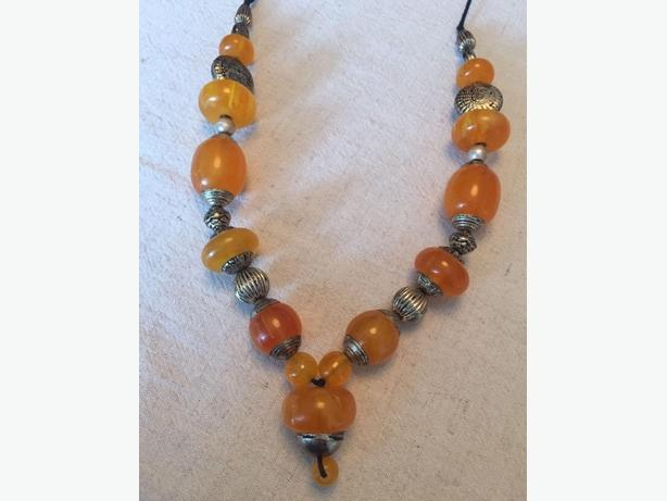 Authentic Antique Amber And Sterling Boho Style Necklace