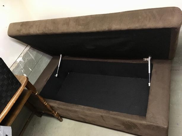 Brown Suede Ottoman Storage Bench