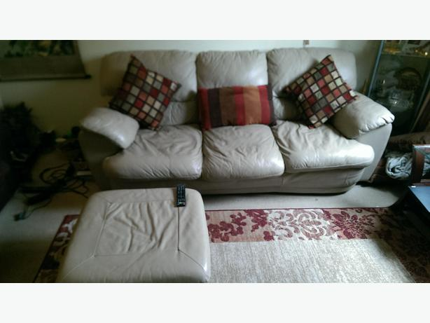 Beige Leather Sofa Set