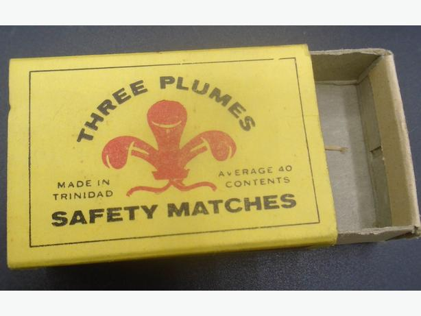 VINTAGE 1960's THREE PLUMES SAFETY MATCHES BOX