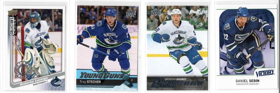Vancouver Canucks Sports Card Lot Young Guns Canvas Rookie Cards