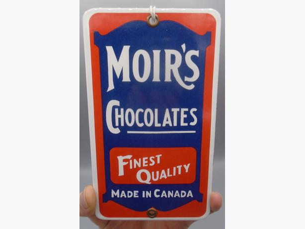 "MOIRS CHOCOLATES 6 1/2 X 3 3/4"" INCH PORCELAIN SIGN REPRODUCTION"