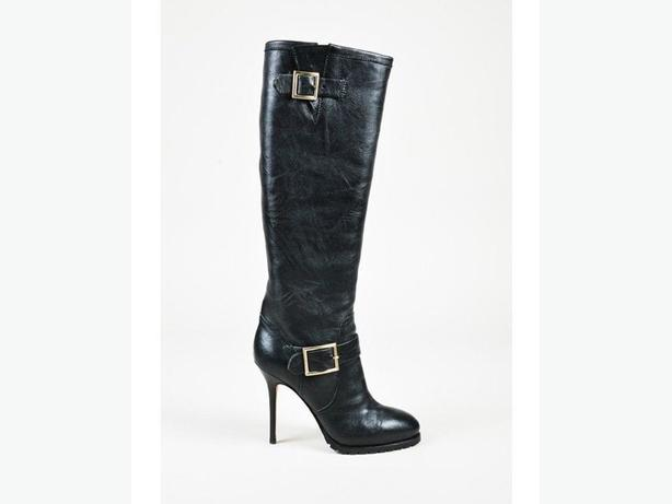 Jimmy Choo Black Leather Buckled Knee High Boots