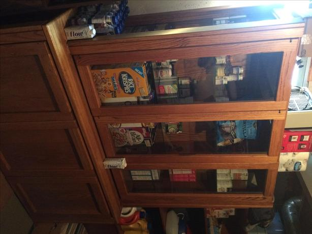 solid wood, table, chairs, buffet, and hutch