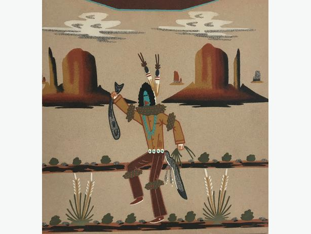 """Sand Painting by Wallace Watchman """"Navajo Clown"""" (1955 - 1999)"""