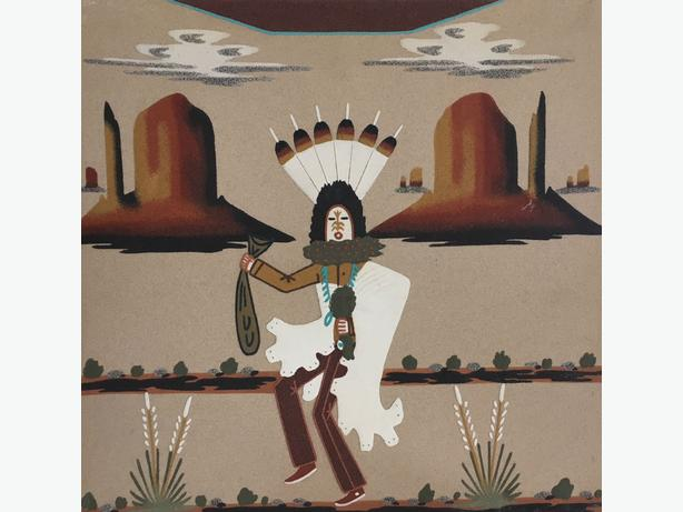 "Navajo Sand Painting ""Talking God"" by artist Wallace Watchman (1955 - 1999)"