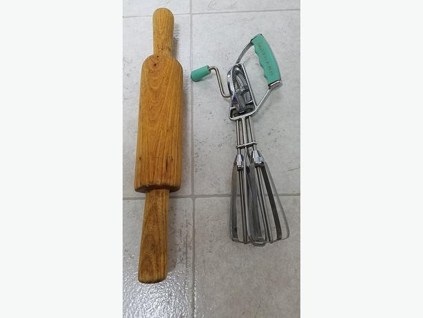 Antique Kitchen Bread Roller & Hand Mixer