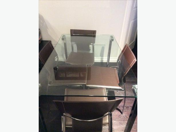 Glass table and 4 Brown Chairs