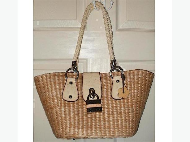 'Guess' Natural Woven Tote / Purse w/Silver-Tone Decorative Padlock