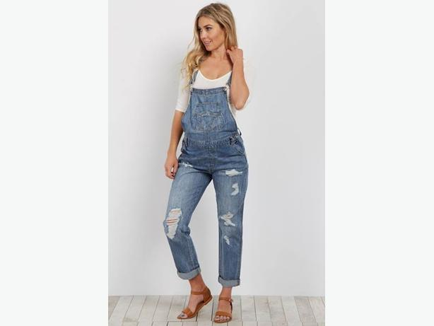c0120f2dc32 Pink Blush Maternity Blue Distressed Denim Boyfriend Overalls ...