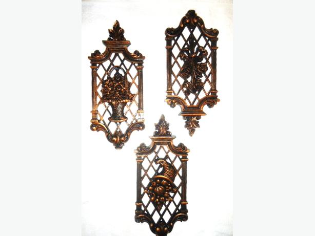 Vintage 1970's Coppercraft Guild 3 Ornate Fruit & Floral Wall Plaques
