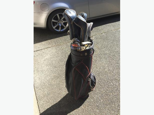 Wilson Clubs and Leather Bag