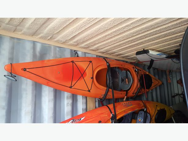 $750.00 Necky Manitu 11' with paddle, skirt and 'J' hook roof rack carrier  and 2 fishing rod holder-Will not seperate