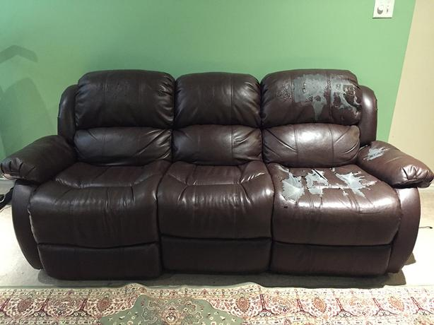 3 seater faux leather recliner sofa