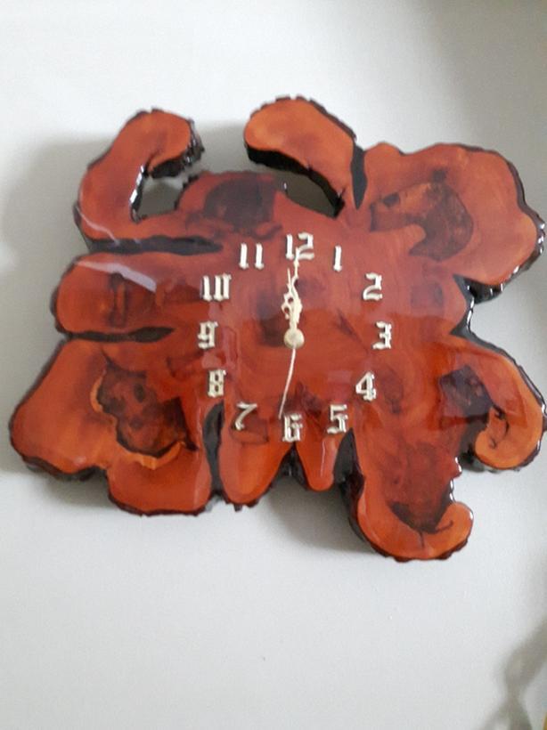 antique vintage 70s cypress wood clock