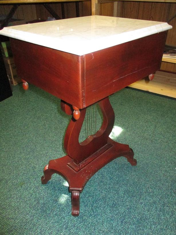 MARBLE TOP MAHOGANY NITE TABLE FROM ESTATE