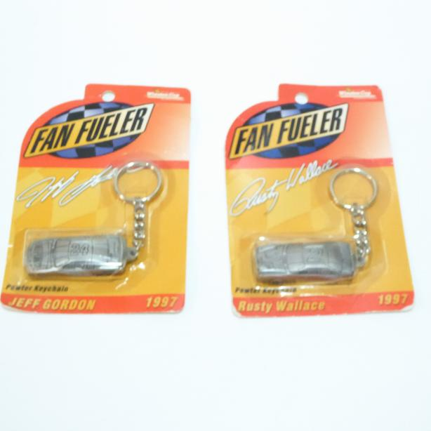 2 PEWTER KEYCHAINS FOR JEFF GORDON & RUSTY WALLACE - MINT