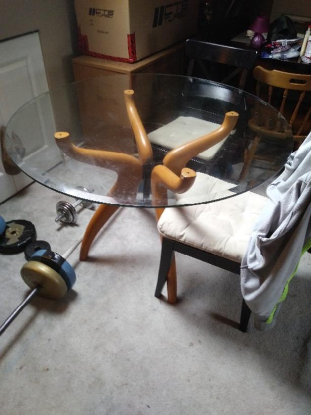 Beautiful & Uniquely Designed Round Glass Table With Oak Legs