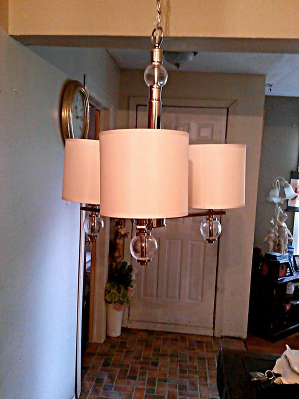 3-light chandelier with fabric shades