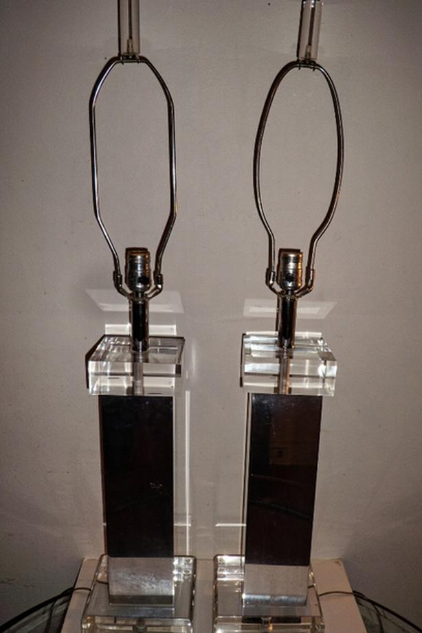 Mid Century Modern N.Y Chrome, Lucite Lamps