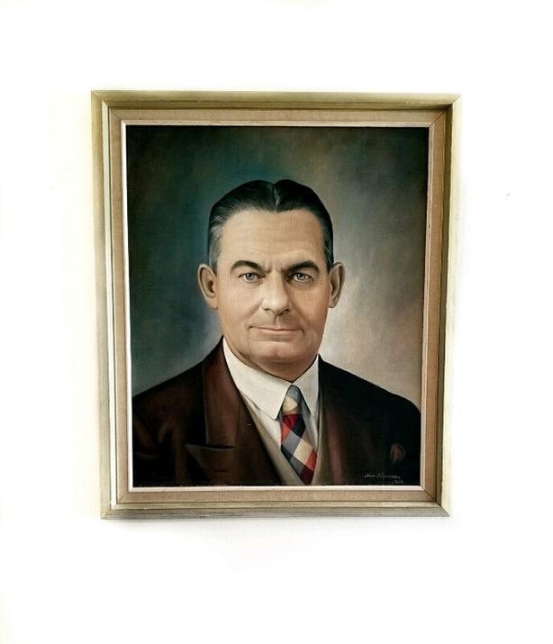 Dated & signed 1959 mid century portrait painting