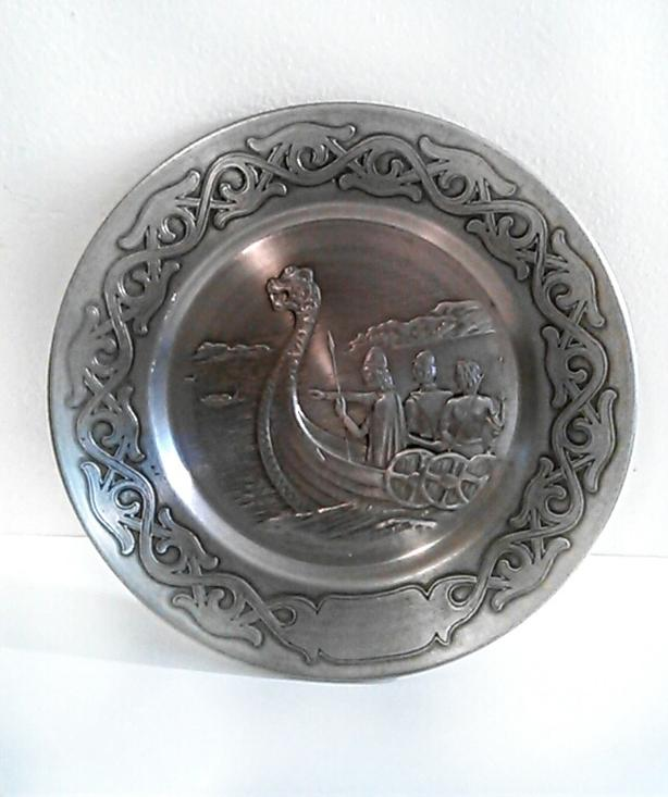 Vintage Silver brass engraved decorative plate