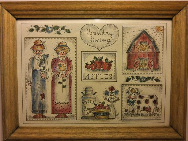 ART - 'COUNTRY LIVING' PRINT IN WOODEN FRAME