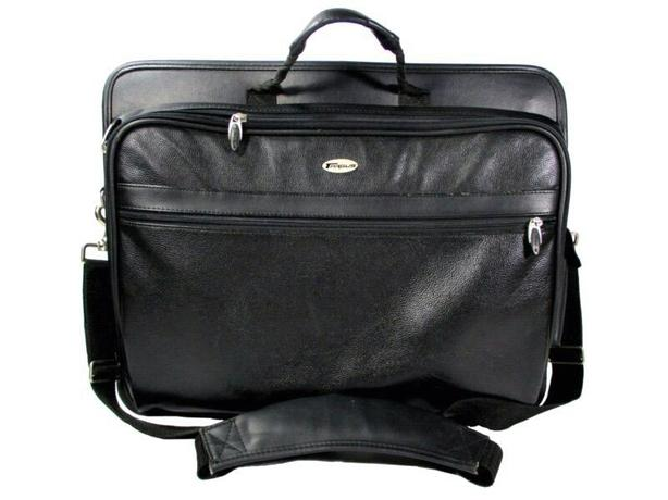 Black leather laptop bag or briefcase