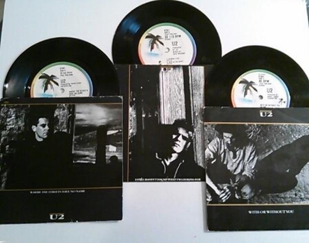 3 vintage 45 RECORDS U2 w mint sleeves