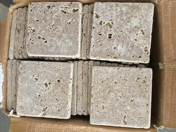 "Tumbled travertine 4""x4""  tiles- Reduced!"