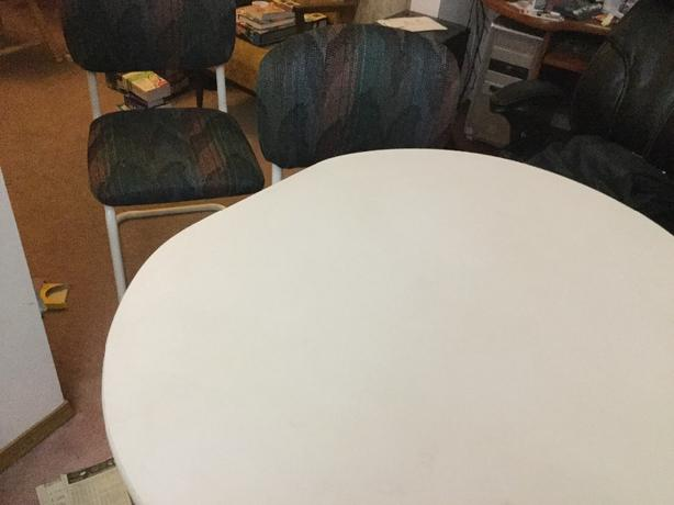 FREE: white oval kitchen table and two chairs