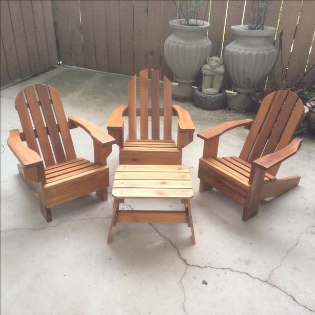 3 Kids Adirondack Wooden Chairs and Table