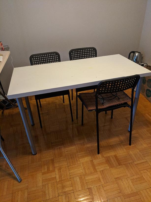 Ikea Billy book case dining table with 4 chairs, IKEA futon