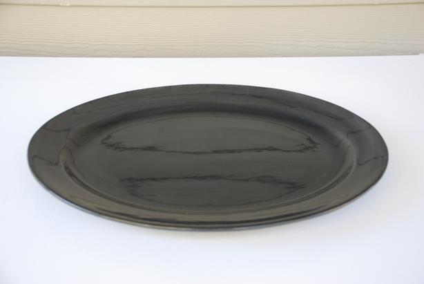 """Large Serving Platter (19"""" black, ceramic, oval)"""