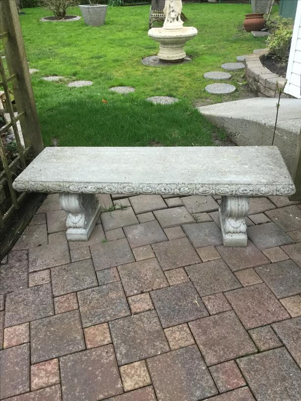 Pretty Concrete Garden Bench