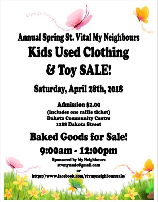 Annual Spring St.Vital My Neighbours Kids Used Clothing & Toy Sale
