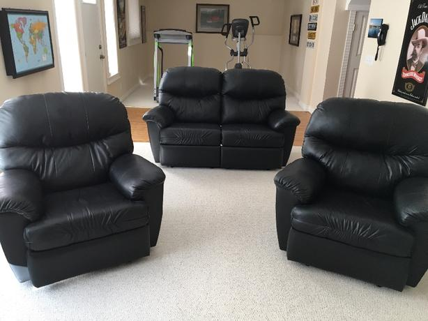Genuine Leather Love Seat and Chairs