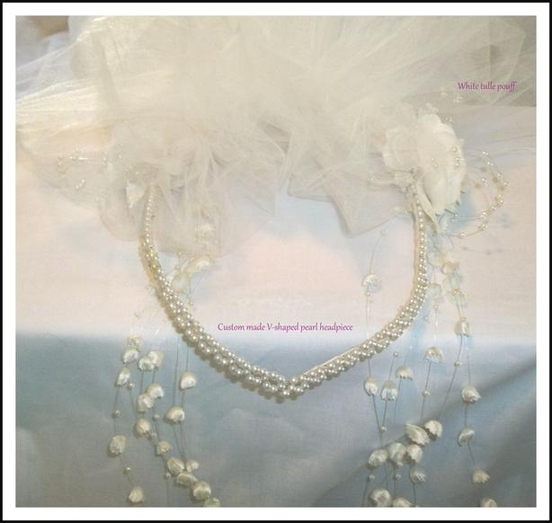 brand new custom made V-Shaped pearl headpiece /pouff/veil